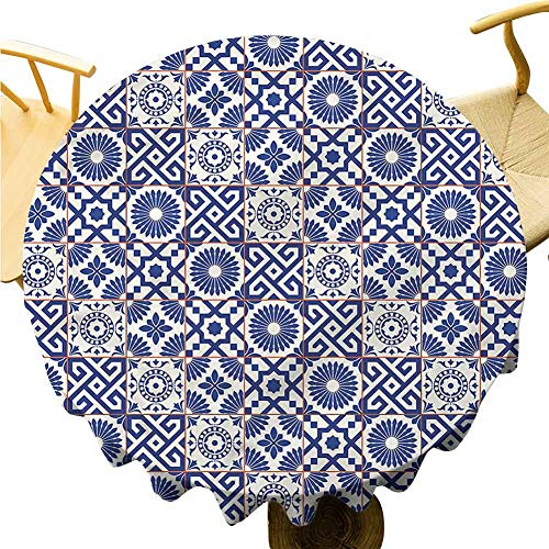 Big Round Tablecloth Azulejo Tile Motifs Art. Outdoor Picnic Table Diameter 51'