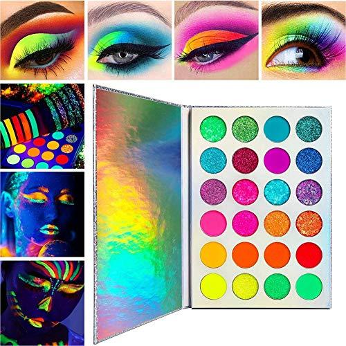 Sombra de ojos luminosa de 24 colores, maquillaje que brilla en la pintura oscura, paleta de sombras de ojos Sombra de ojos impermeable a prueba de sudor fácil de aplicar para la fiesta de Halloween