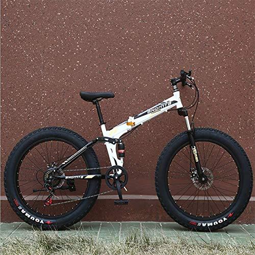Cacoffay Pieghevole Doppio Shock Assorbimento Freno a Disco con più variabile velocità Mountain Bike 26 Pollici 4.0 Ruota Larga grassa Pneumatico Mountain Bike Bicicletta Adulto Pieghevole,26in,D