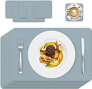 Set de Table, 6 Set de Table Cuir, PVC Antidérapant Lavable Résiste Chaleur Rectangulaire Vinyle Sets de Table, Facile à N...