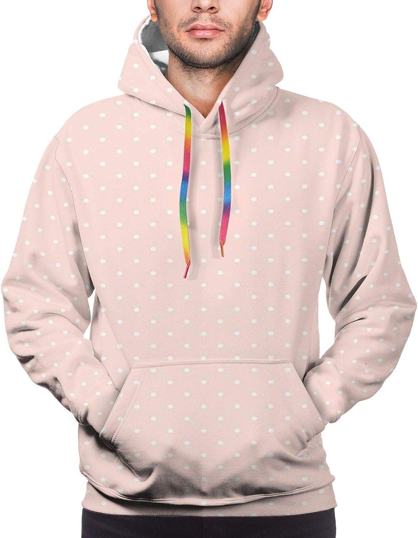 TENJONE Men's Hoodies Sweatshirts,Spots Repeating Pattern Cute and Plain Background Concept Pattern