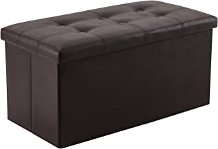 YOUDENOVA 30 inches Folding Storage Ottoman, 80L Storage Bench for Bedroom and Hallway, Faux Leather Brown Footrest with F...