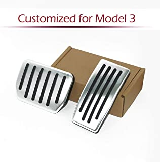 Car Antislip Gas & Brake Pedals Foot Pedal Pads, Auto Aluminum Pedal Covers Compatible Model 3(A Set of 2 (For Model 3)