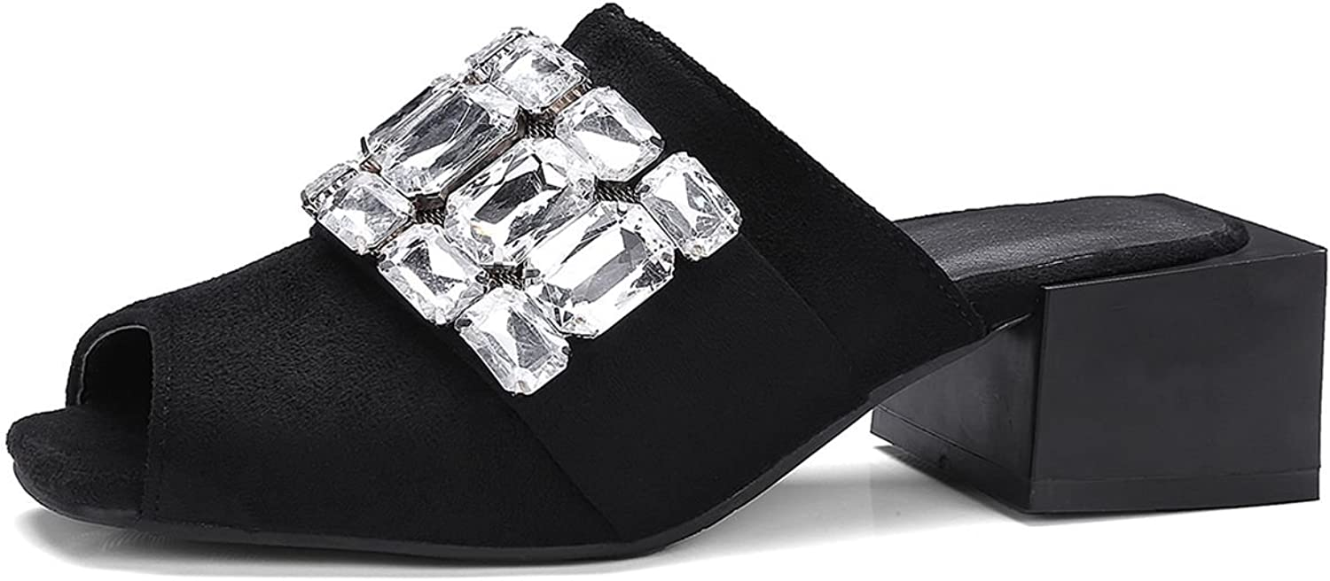 DecoStain Women's Suede Rhinestone Decoration Chunky Mid Heel Mule Fashion Square Mid Heels Sandals