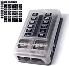 12-Way Fuse Block W/Negative Bus – JOYHO ATC/ATO Fuse Box With Ground, LED Light Indication & Protection Cover, Bolt Connect Terminals, 70 pcs Stick Label, For Car Boat Marine Auto Car Truck
