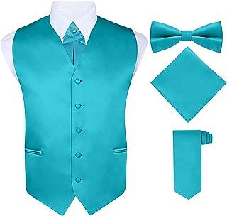 S.H. Churchill & Co. Men's 5 Piece Vest Set, with Cravat, Bow Tie, Neck Tie & Pocket Hanky