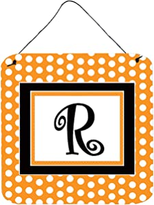 Caroline's Treasures CJ1033-RDS66 Letter R Initial Monogram - Orange Polkadots Wall or Door Hanging Prints, 6x6, Multicolor