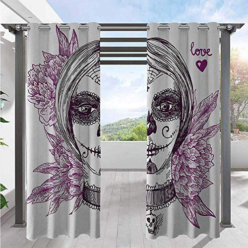 Adorise Outdoor Blackout Curtains Gothic Vampire Like Dead Face Skull with Flowers Image Print Outdoor DéCor Patio Curtains for Pergola, Porch, Cabana and Gazebo Violet Purple White W120 x L108 Inch