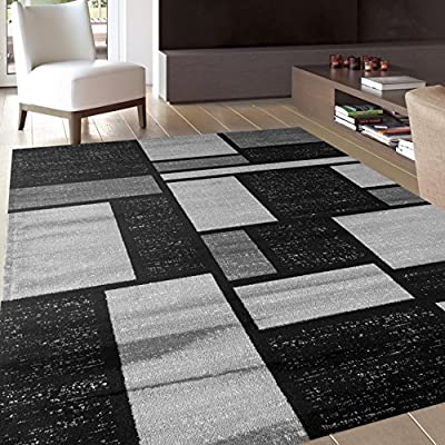 """Contemporary Modern Boxes Design Gray Soft 7'10"""" x 10'2"""" Indoor Area Rug"""