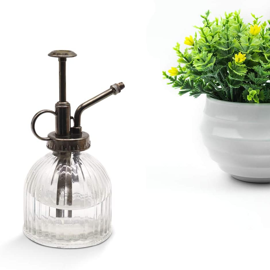 Home Dec 6.3 Tall Glass Water Spray Bottle with Plastic Top Pump Cleaning Garden Glass Watering Spray Bottle Vintage Small Watering Can for House Plants MOAMI Plant Mister Transparent-1