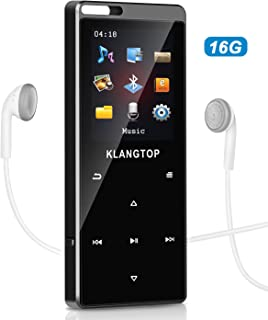 MP3 MP4 Player 16G KLANGTOP Bluetooth 4.1 Lossless Sound Audio Music Player with FM Radio Voice Record Function Special Design for Sport and Music Lovers,Expandable up to 128GB TF Card