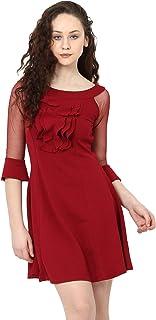 ADDYVERO Women's Mini Dress (CL-WM-U0458_Maroon_Small)