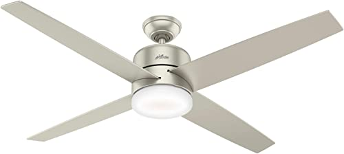popular Hunter Indoor Wifi Ceiling Fan with LED Light high quality and remote control - Advocate 60 inch, online sale Matte Nickel, 59370 outlet sale