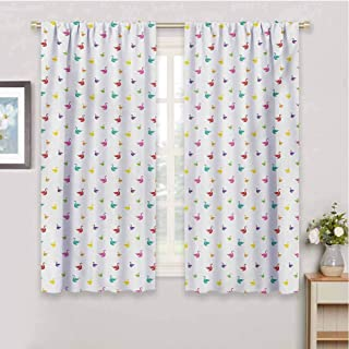 Swanroom Darkening Curtains for bedroomRainbow Colored Cute Swans Pattern Birds Wings Themed Nursery Kids Artistic Printwindow curtainsMulticolor55 x 40 inch