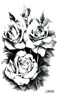 EROSPA® Tattoo-Bogen temporär / Sticker - 3 Schwarze Rosen