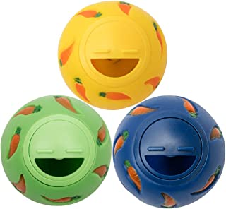 Niteangel Treat Ball, Snack Ball for Small Animals (Small, Yellow, Blue & Green)