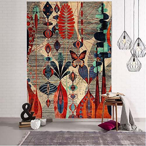 Tapiz de ilustración floral abstracta antigua tapiz de impresión de arte bohemio tapiz de habitación decoración del hogar tapiz de tela de fondo A1 73X95CM