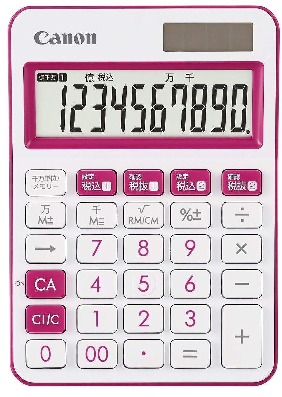 重荷机受粉するCanon カラフル電卓 LS-105WUC-PK ピンク 10桁ミニ卓上タイプ