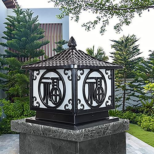 Lámpara De Columna Impermeable Exterior Antigua Aluminio Luz De Pilar Para Jardín Patio Césped Decoración Iluminación Luz De Farola (Color : Black,25 * 25 * 33)