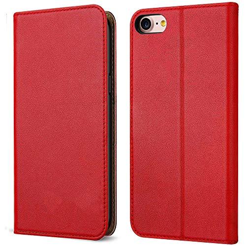 FDTCYDS Etui iPhone 6s, Coque iPhone 6 Pochette Portefeuille en Cuir Véritable Coque de Protection pour Housse Apple 6 / 6s avec Fonction Stand – Red/Rouge