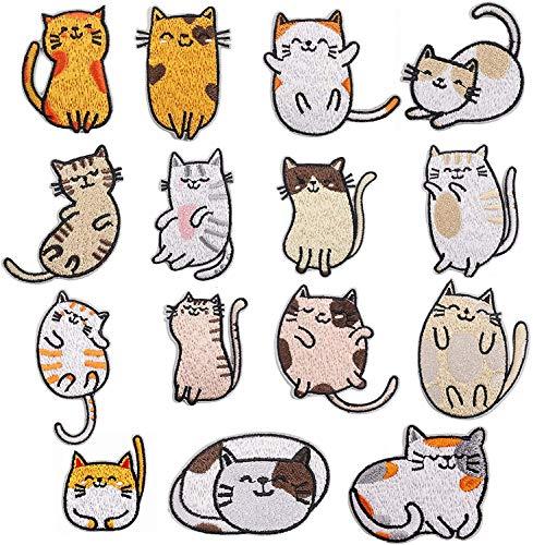 CYWQ Parches para planchar con diseño de animales de gato, parches bordados, para ropa, chaquetas, mochilas, zapatos, gorras para niños y adultos