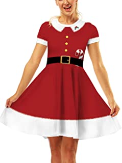 Women's Christmas Xmas Fit Flare Swing Dress A Line Santa Claus Floral Print Knee Length Party Dress Skater