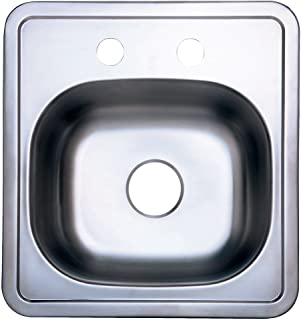 Kingston Brass Gourmetier GKTS1515 Self Rimming Single Bowl Bar Sink 2 Holes 15-Inch-Length  by 15-Inch-Width by 5-1/2-Inch-Depth, 22 Gauge, Brushed Stainless Steel