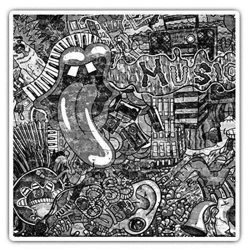 Impresionantes pegatinas cuadradas (juego de 2) 10 cm BW – Música Graffiti Wall 80 Retro Vintage Divertidos calcomanías para portátiles, tabletas, equipaje, reserva de chatarras, neveras, regalo fresco #42337