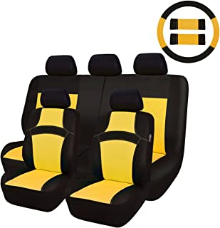 NEW ARRIVAL- CAR PASS RAINBOW Universal Fit Car Seat Cover -100% Breathable With 5mm Composite Sponge Inside,Airbag Compatible (14PCS, Yellow)