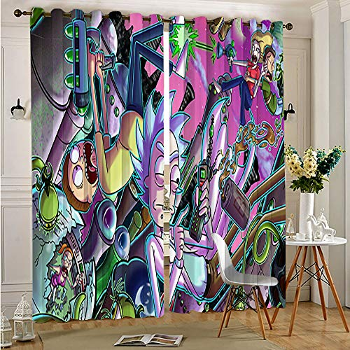 Petpany Rick And Morty Blackout Curtains for Kids Room rick and morty Insulated Light Noise Blocking Drapes Darkening Curtains for Living Room 63'x72'