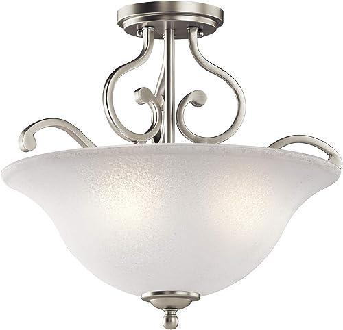 popular Kichler 43232NI outlet online sale Camerena Semi Flush Light, 3, lowest Brushed Nickel outlet sale
