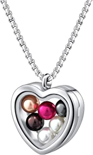 Pearl Cage Necklace Pendant Large Pick A Pearl Holder Stainless Steel Tempered Glass Floating Locket Charms Jewelry Gift Set with Wish Pearls of 7-8 mm Inside for Women Girls