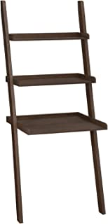 VASAGLE Ladder Shelf, 100% Bamboo Bookshelf, 3-Tier Home Office Desk, Display and Storage for Living Room, Bedroom, Walnut ULLS13BR