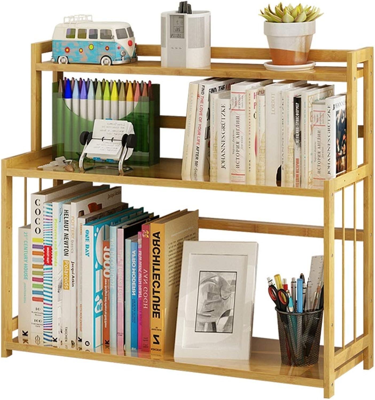 ZHIRONG 2 Tier Bamboo Desk Bookcase for Home and Office Desktop Bookshelf 60 x 18 x 53cm