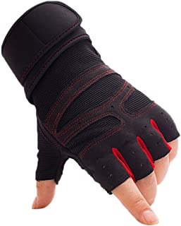 1 Pair Workout Gloves Weight Lifting Gloves Fingerless Workout Gym Gloves with Wrist Support Cycling Bike Gloves Half Fing...