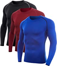 SILKWORLD Men's Compression Shirt Dry Fit Long-Sleeved Sports Baselayer