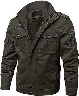 EKLENTSON Men's Fleece Lined Multi Pockets Cargo Military Jacket Parka Winter Coats Windproof Windbreaker