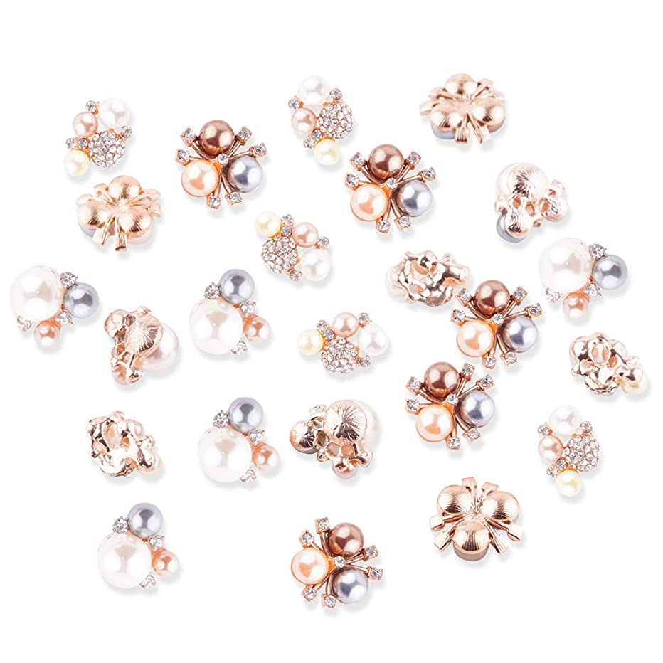 24Pcs Crystal Rhinestones Pearl Buttons, Rhinestone Flower Embellishments Button Flatback Pearl Beads DIY for Jewelry Making, Wedding DIY Supplies, Clothes, Bags, Shoes and Sew Craft Projects