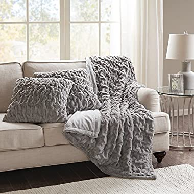 Comfort Spaces Faux Fur Throw Blanket Set – Fluffy Plush Blankets for Couch and Bed – Grey Size 50  x 60  with 2 Square Pillow Covers 20  x 20  by