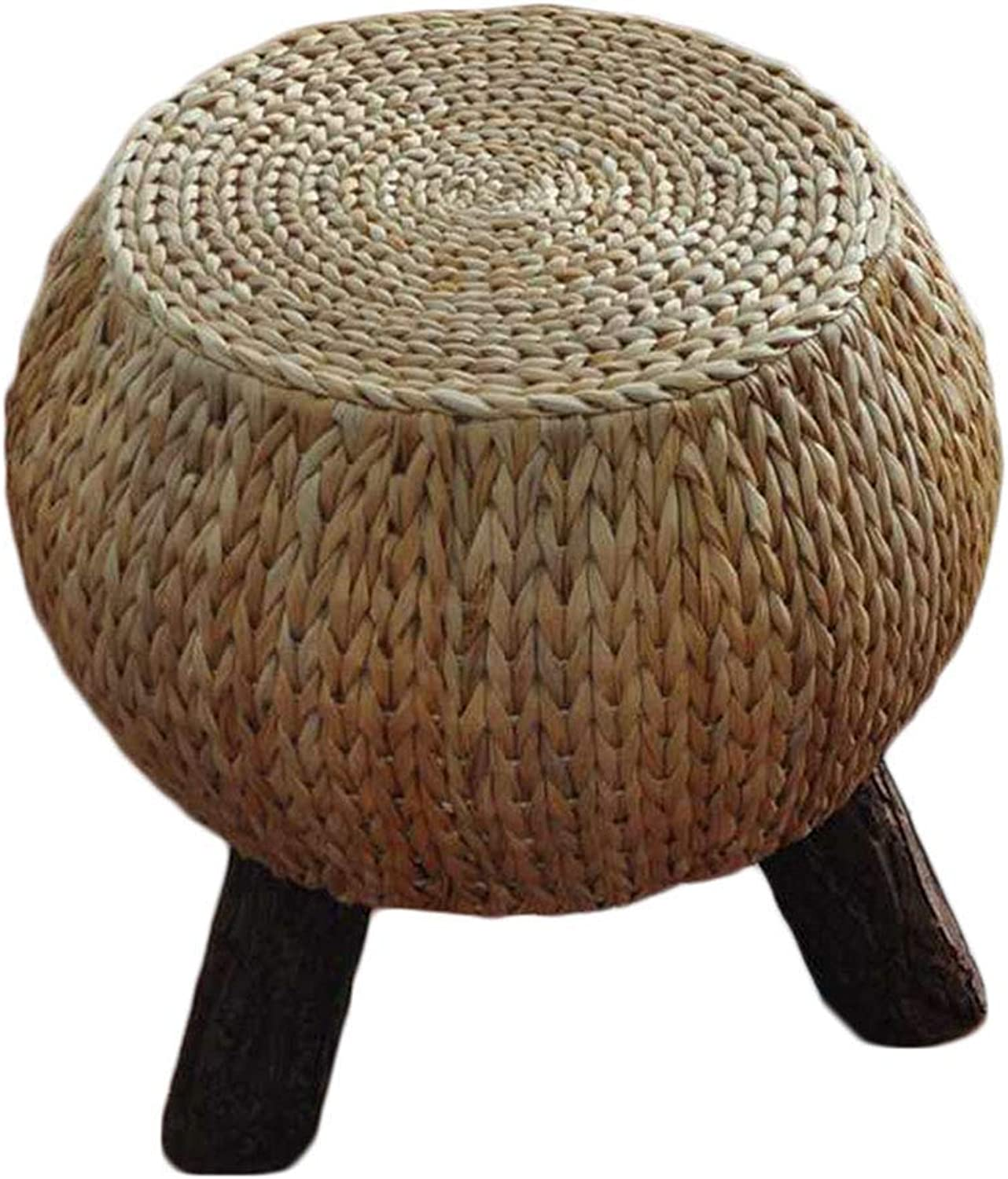 YJLGRYF Household Rattan Chair Stool Round Round Change shoes Stool Multifunction Wooden Foot Rest Stool(11.8x11.8x14.5 Inches)