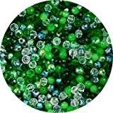 Crystal Glass Beads 6mm 500pcs Briollete Rondelle Faceted Spacer Bead Sparkle AB Loose Beading Charms DIY for Bracelet Earring Necklace Jewelry Making Craft Art Decoration (Green Mixed, 4x6mm)