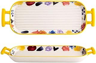 WSXEDC Ceramic Au Gratin Pans Bakeware with Handles, Rectangular Baking Pan Baking Dishes, Oven to Table Casserole Dish, B...