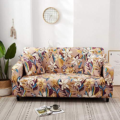 KYLN Elastische Sofabezüge für Wohnzimmer Floral Universal Spandex Couch Case rutschfeste Stretch-Couchbezug Schonbezug Sofabezug-Farbe 13_4-Sitz 235-300cm