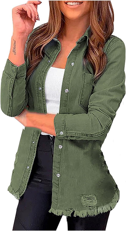 Denim 2021 model Topics on TV Jackets for Women Long Sleeve Lapel Down Coat Button Shirt
