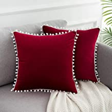 WLNUI Soft Velvet Christmas Burgundy Pillow Covers Decorative Cute Pom Poms Throw Pillow Covers Square Cushion Case for Sofa Couch Home Decor 18x18 Inches