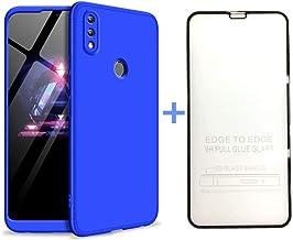AILZH Funda Huawei Honor 8X+Película Vidrio Templado Cubierta 360 Grados Caja protección de cáscara Dura Anti-Shock Anti-rasguño Completo 360°Caso Mate Protector(Azul)