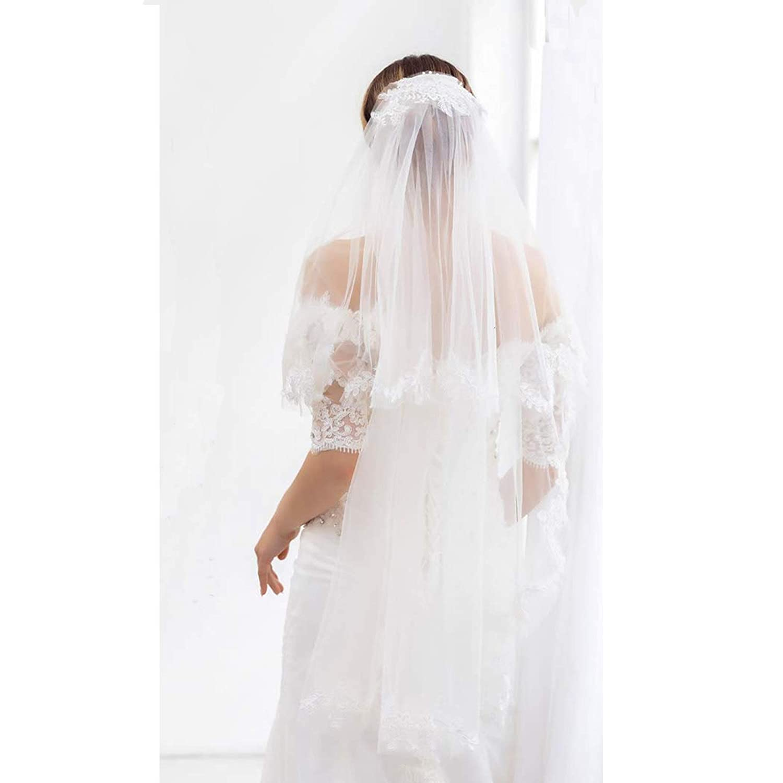 Aukmla Bridal Wedding Veil With Metal Comb Lace Applique Edge 2 Tiers Fingertip Length for Brides (White)