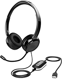 Stereo 071 USB Headset with Microphone Noise Canceling, 3.5mm Computer Headset with Mute, Lightweight Wired Headphone with Mic for Cell Phone, Laptop, Comfort-fit for Home Office, Remote Learning