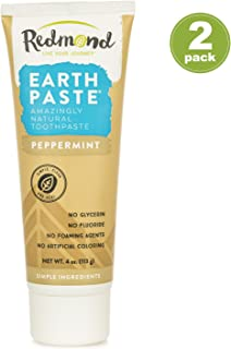 Redmond Earthpaste - Natural Non-Fluoride Toothpaste- Peppermint (2 pack- 2 x 4 Ounce Tube)