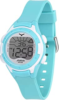 Children's watch digital waterproof watch with alarm date and stopwatch, boys and girls watch 3-12 years old (rose red, blue)